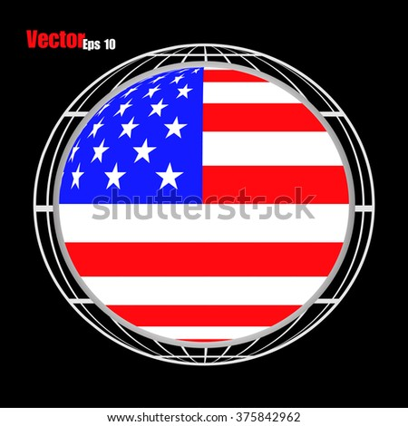 Flag of the United States in form globe. Vector illustration. Eps10 - stock vector