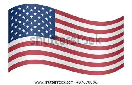 Flag of the United States waving on white background - stock vector