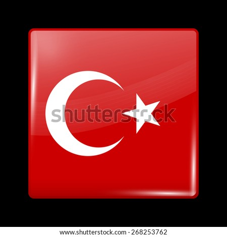Flag of Turkey. Glossy Icons Square Shape. This is File from the Collection European Flags - stock vector
