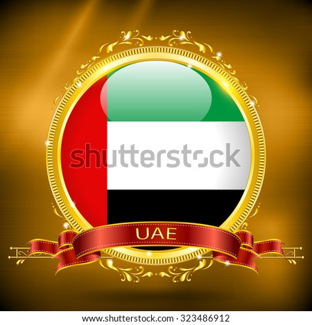 Flag of UAE in GOLD on a gold background - stock vector