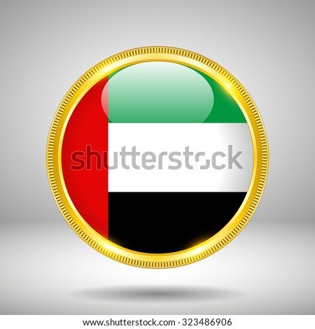 Flag of UAE in GOLD on a gray background - stock vector