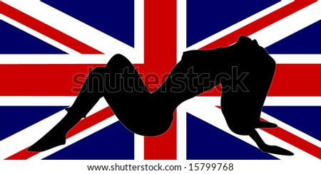 flag of UK and silhouette