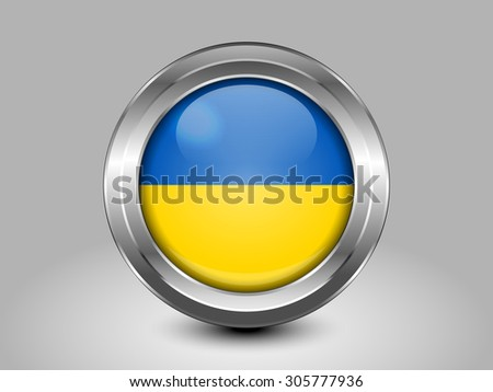 Flag of Ukraine. Metal Round Icons. This is File from the Collection European Flags - stock vector