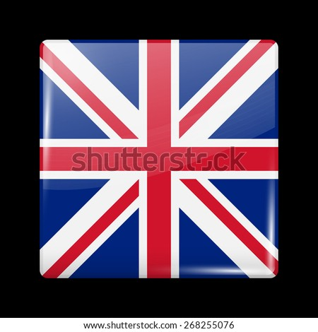 Flag of United Kingdom. Glossy Icons Square Shape. This is File from the Collection European Flags - stock vector