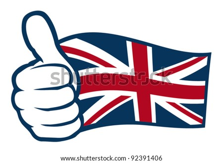 Flag of United Kingdom of Great Britain and Northern Ireland. Hand showing thumbs up. - stock vector