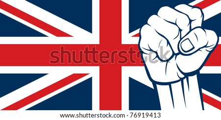 Flag of United Kingdom of Great Britain and Northern Ireland with fist