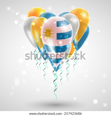 Flag of Uruguay on air balls in heart-shaped. Celebration and gifts. Ribbon in the colors of the flag are twisted under the balloon. Independence Day. Balloons on feast of the national day - stock vector