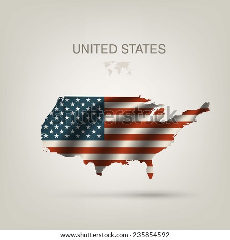 Flag of USA as a country with a shadow - stock vector