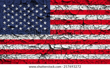 Flag of USA with old texture. Vector illustration - stock vector
