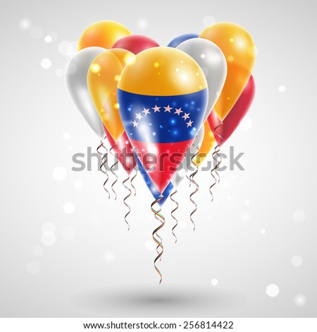 Flag of Venezuela on air balls in heart-shaped. Celebration and gifts. Ribbon in the colors of the flag are twisted under the balloon. Independence Day. Balloons on the feast of the national day - stock vector