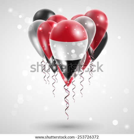 Flag of Yemen on air balls in heart-shaped. Celebration and gifts. Ribbon in the colors of the flag are twisted under the balloon. Independence Day. Balloons on the feast of the national day.  - stock vector