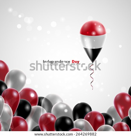 Flag of Yemen on balloon. Celebration and gifts. Ribbon in the colors of the flag are twisted under the balloon. Independence Day. Balloons on the feast of the national day.  - stock vector