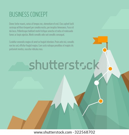 Flag on the mountain peak. Hiking trail. Business concept, goal achievement, success, winning. Flat style, vector illustration. - stock vector