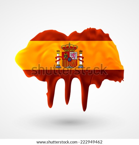 Flag painted colors. Blot with paint streaks with the national colors. Independence Day. International relations. Flag of Spain - stock vector