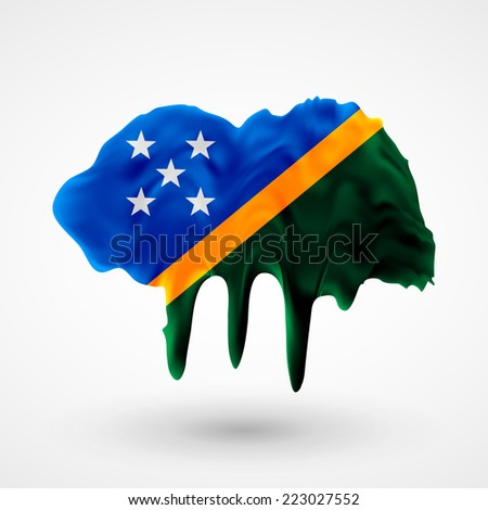 Flag painted colors. Blot with paint streaks with the national colors. Independence Day. International relations. Flag of Solomon Islands - stock vector