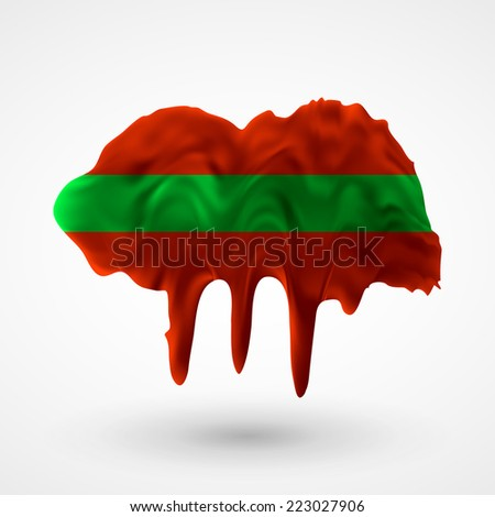 Flag painted colors. Blot with paint streaks with the national colors. Independence Day. International relations. Flag of Transnistria. Use for brochures, printed materials, icons, logos, signs. - stock vector