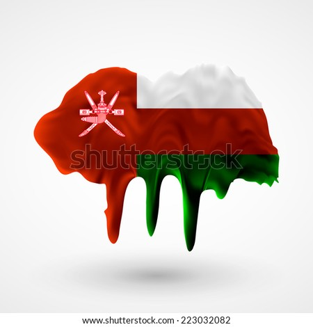 Flag painted colors. Blot with paint streaks with the national colors. Independence Day. International relations. Flag of Oman. Use for brochures, printed materials, icons, logos, signs, elements, etc - stock vector