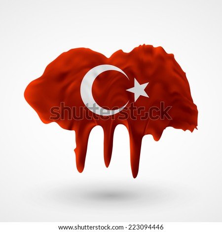 Flag painted colors. Blot with paint streaks with the national colors. Independence Day. International relations. Flag of Turkey. Use for brochures, printed materials, icons, logos, signs,  elements. - stock vector