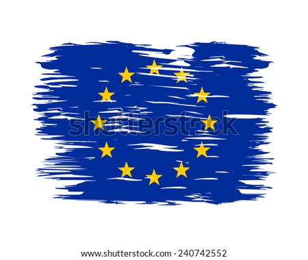 Flag painted with a brush. Flag of the European Union - stock vector