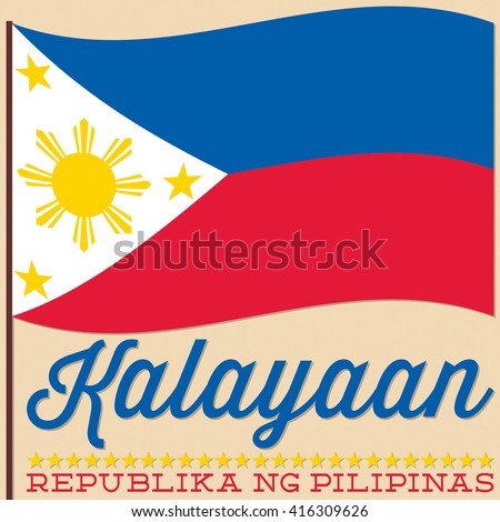 Flag Philippine Independence Day card in vector format. - stock vector