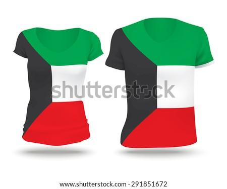 Flag shirt design of Kuwait - vector illustration - stock vector
