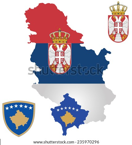 Flag the Republic of Serbia and the Republic of Kosovo overlaid on outline map isolated on white background Serbia claims Kosovo as its own autonomous province of Kosovo and Metohija - stock vector
