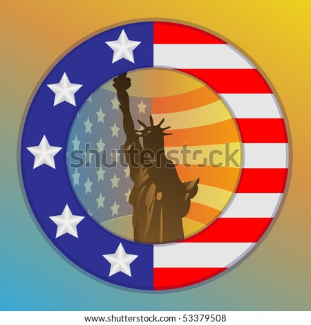 Flag USA in the form a ring and statue silhouette