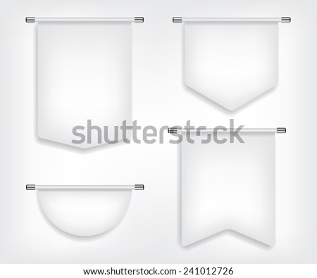 Flag white banner different shapes illustration - stock vector