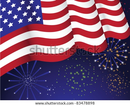 Flag with fireworks The American flag waves over fireworks bursting in the background. Vector illustration. Grouped for easy editing. - stock vector