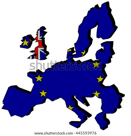 Flags and maps of the United Kingdom and the European Union which shows that Great Britain leaves from the EU as a result of the Brexit