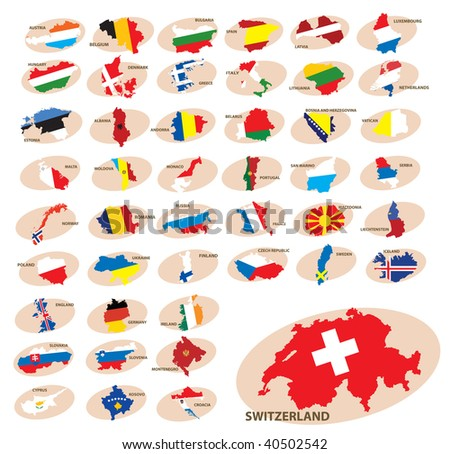 Flags and silhouettes of the countries. Europe. Vector illustration - stock vector