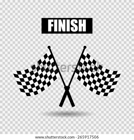 Flags finish with shadow on gray checkered background - stock vector