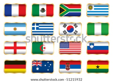 Flags. 16 Football World cup nations (groups A B C D). - stock vector