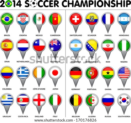 Flags for soccer championship 2014. Groups A to H. 8 groups. 32 nations. Pointer designs. Carefully designed. - stock vector
