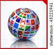 Flags Globe on Binary Code Background Original Vector Illustration - stock photo