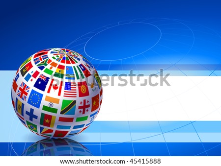 Flags Globe on Blue Abstract Background Original Vector Illustration EPS10