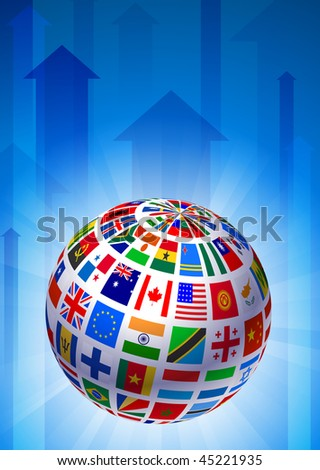 Flags Globe on Blue Arrow Background Original Vector Illustration