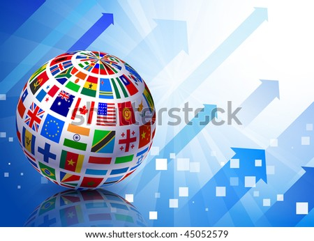 Flags Globe on Blue Arrow Background Original Vector Illustration EPS10
