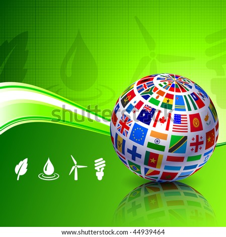 Flags Globe on Green Nature Background Original Vector Illustration - stock vector