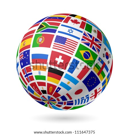 Flags globe. Vector.