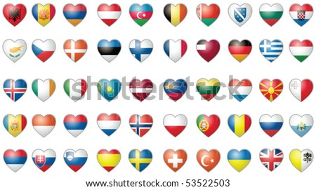 Flags Heart Shape Complete Europe Collection Vector Isolated on White - stock vector