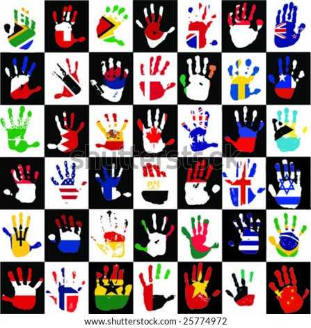 flags in the hands of kids - stock vector