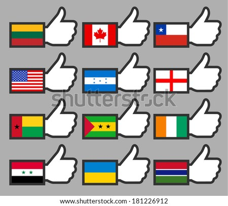 Flags in the Thumbs up-01, flat vector illustration - stock vector