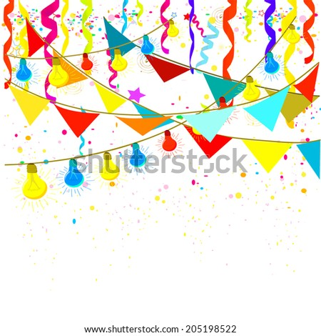 Flags, lights and confetti. Vector - stock vector