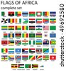 Flags of Africa- complete set of flags in original colors over white background - stock vector