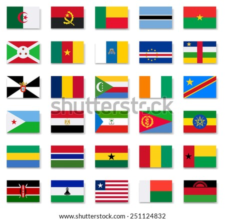 Flags of Africa countries.Set 1.Vector