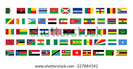 Flags of Africa. Vector set on white background - stock vector