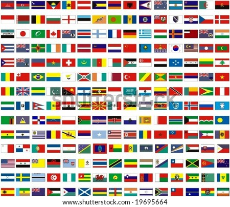 flags of all countries of the world - stock vector