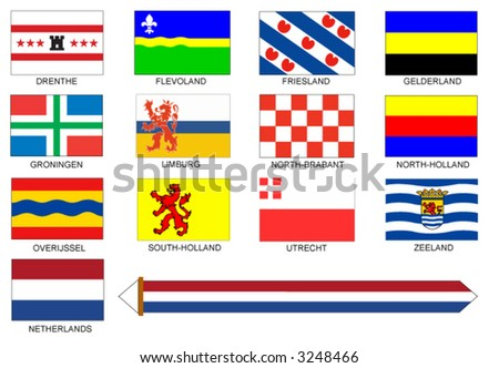 Flags of all provinces of the Netherlands. - stock vector