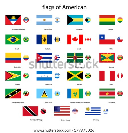 Flags of America vector set